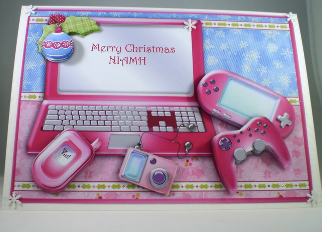 Handmade Christmas  Card, pink computer, Personalise,3D