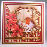 3D, decoupage Robin Christmas Card, Large,personalised