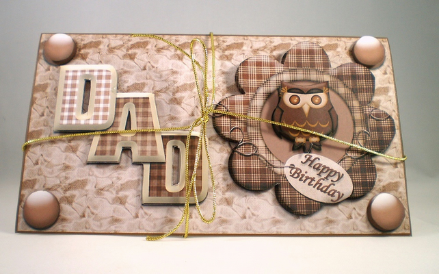 Handmade 3D money wallet for dad ,owl, birthday, fathers day