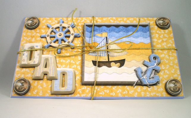 Handmade 3D money wallet for dad, nautical, birthday, fathers day