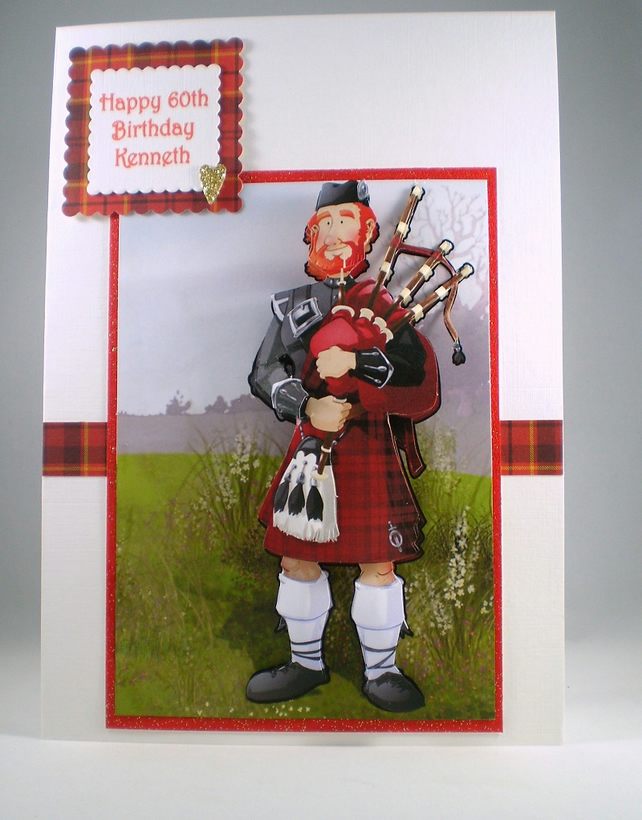 Scottish Piper 3D Birthday Card .Personalise,handmade