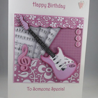 Pink Guitar Birthday Card, Handmade, 3D, Personalise