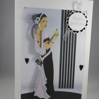 Art Deco Elegant Lady Birthday Card, Personalise