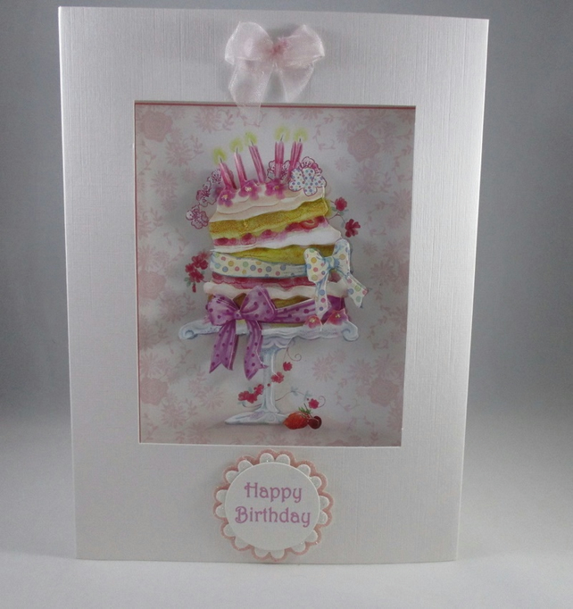 Handmade Decoupage Cake Birthday Card,3D,Personalise