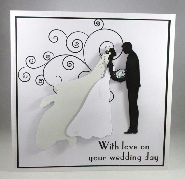 Handmade Large Silhouette Wedding Card Bride And Groom Personalise