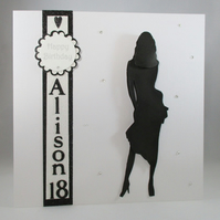 Handmade Large Silhouette Female 18th,21st Birthday Card,3D,Fashion,Personalise,