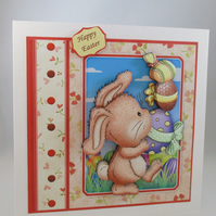 Easter 3D greeting Card,Cute Bunny,Handmade,Personalise