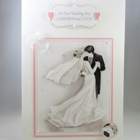 Handmade Wedding Card, Bride and Groom, 3D,Personalise