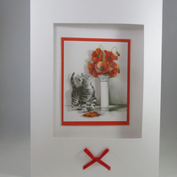 Handmade Blank Kitten Greeting Card, 3D, Decoupage,Any Occasion