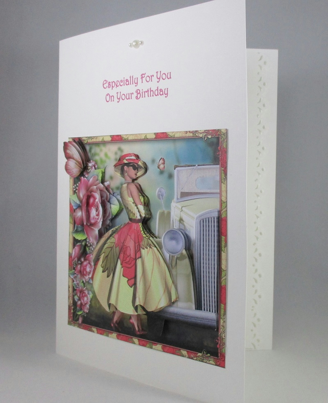 Handmade 3D Fashionable Lady Birthday Card,personalised