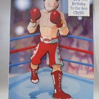 3D Boxer Birthday Card,Personalised,Handmade