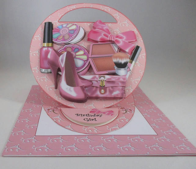 girls makeup easel birthday card pink 3d person