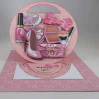 Girls Makeup Easel Birthday Card,pink,3D,Personalise,handmade