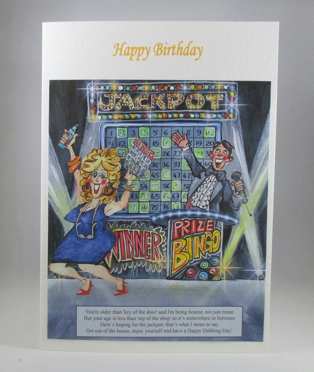 Bingo Lady Birthday Card,personalise,3D,handmade