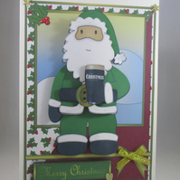 Handmade Irish Santa Card, 3D, Decoupage, Personalise