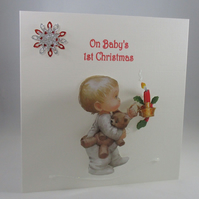 Handmade Baby's First Christmas Card,Personalise
