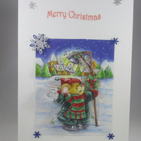 Decoupage,3D Bear Carol Singing Christmas Card,personalise