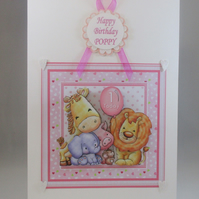 3D Childs Birthday Card, Animals,Personalise
