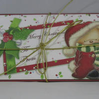 Handmade Money, Gift Card Wallet ,Cute bear, Christmas