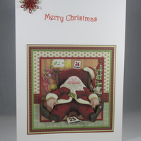 Decoupage,3D Santa Claus Christmas Card,Personalise