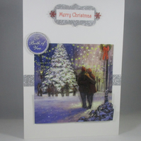 Decoupage,3D Christmas Card for Both Of You, Snow scene