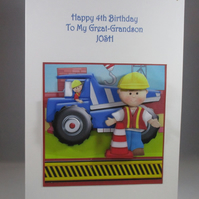 3D Childs Birthday Card, Truck,Digger,Personalise