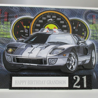 21st Silver Sports Car Birthday Card, Grandson, 3D.Personalise,Handmade