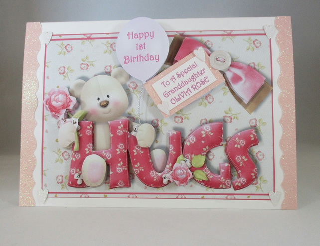 Girls Teddy 3D 1st Birthday Card, Granddaughter, handmade,cute,personalise