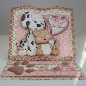 Cute Dog and Cat Easel Birthday Card, 3D,Decoupage,Personalise