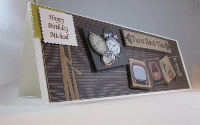Handmade Old Relics,TV,Radio,Telephone,Gramaphone, Clocks Birthday Card