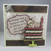 Decoupage Chocolate Cake Birthday Card, humorous, personalise