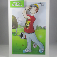 Golfer 3D Birthday Card,personalise