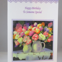 Handmade Decoupage, 3D Birthday Card, tulips,personalise