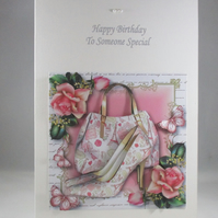 Decoupage,3D Handbag and Shoes Birthday Card , Paris Chic,Personalise