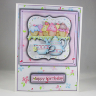 Decoupage,3D Cake and Tea Birthday Card,Personalise