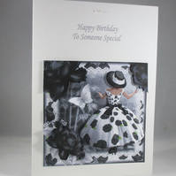 Decoupage,3D Elegant Lady Birthday Card, Black and White, Personalise