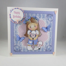 Decoupage,3D Cute Girl and Lambs Birthday Card,Personalise