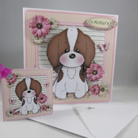 Handmade Decoupage,3D Mother's Day Card,Cute Puppy