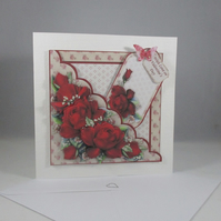 Handmade Decoupage,3D Valentines Day Card,Red Roses