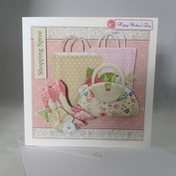 Mothers Day 3D Greeting Card, fashion, Handbags, Shoes,Personalise