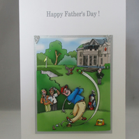 Golfer 3D  Fathers Day Greeting Card, decoupage,handmade