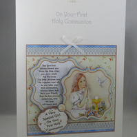 Holy Communion Decoupage Greeting Card ,Girl praying, Personalise