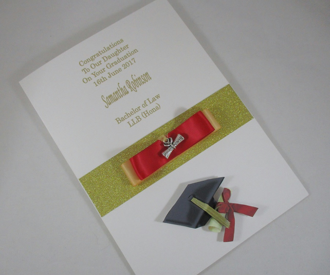 Graduation 3D Greeting Card, mortar board,trinket scroll,personalised,daughter