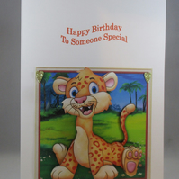 Wobbly Head Tiger Birthday Card, Decoupage,3D, Personalise