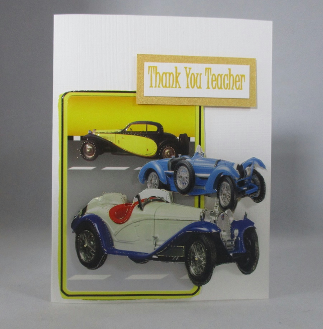 Small Male Teacher Thank You Card, 3D Old Cards, Handmade