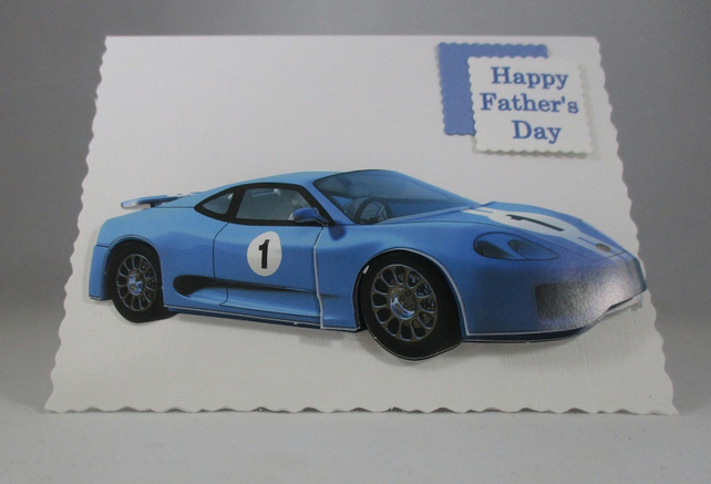 Small Father's Day Card, Blue Sports Car, 3D, Handmade