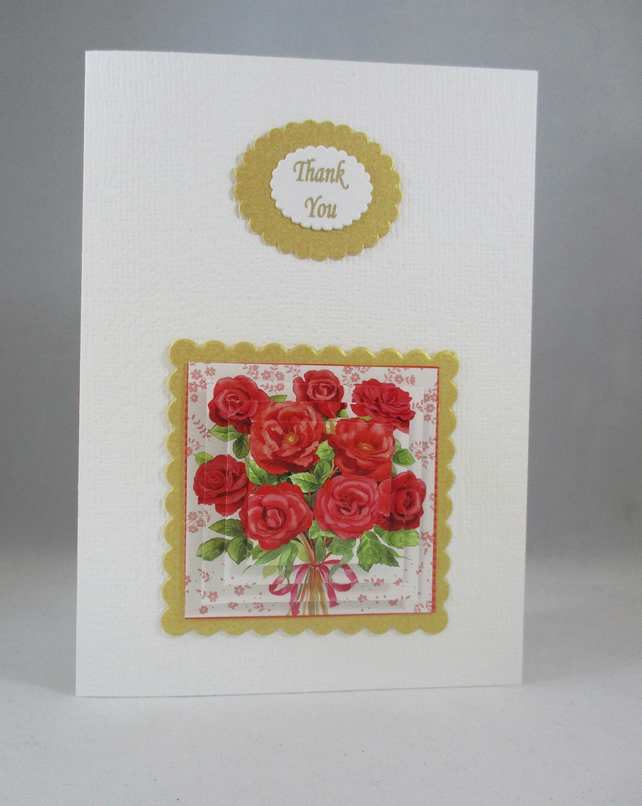 3D Thank You Card Red Roses Handmade