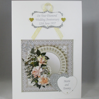 Decoupage,3D Diamond Wedding Card, Personalised
