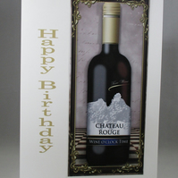 Bottle of Red Wine Birthday Card, 3D,Decoupage,Personalise