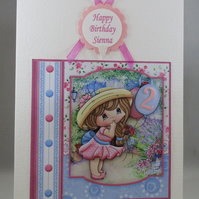 Decoupage Cute Girl with Balloon Birthday Card,Personalise,Age
